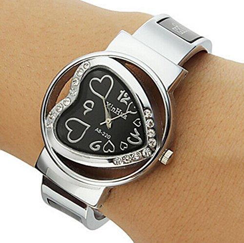 XinHua Damen Armbanduhr Quarz Herz Ziffern Strass Metallband schwarz silber