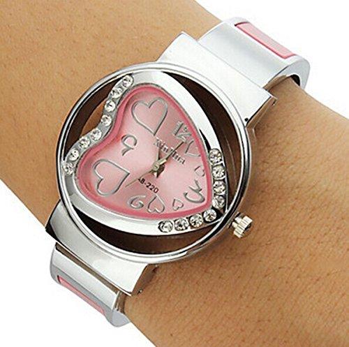 XinHua Damen Armbanduhr Quarz Herz Ziffern Strass Metallband pink silber