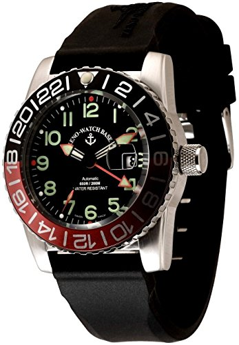 Zeno Watch Airplane Diver Automatic GMT Numbers Dual Time black green 6349GMT 12 a1 7