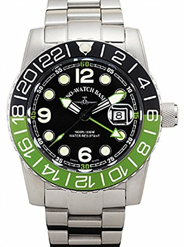Zeno Watch Airplane Diver Quartz GMT Points Dual Time black green 6349Q GMT a1 8M