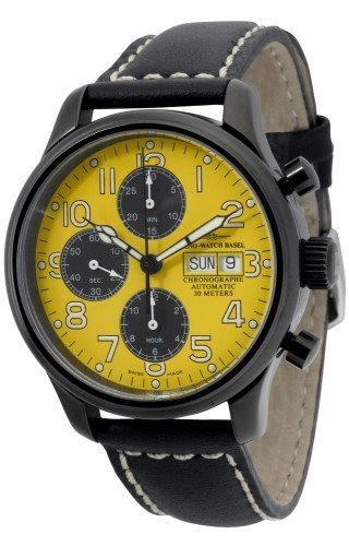 Zeno Watch NC Pilot Chrono yellow black 9557TVDD bk b91