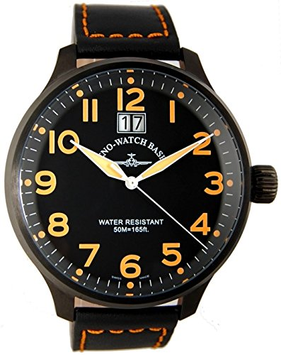 Zeno Watch Super Oversized Big Date black orange 6221 7003Q bk a15