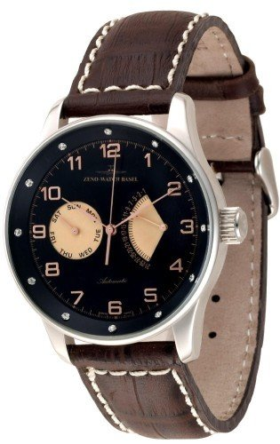 Zeno Watch X Large Retro Day Date Retrograde 12 crystal P592 Dia g1