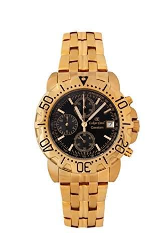Oskar-Emil Classic Watches Herren-Armbanduhr Analog Quarz Edelstahl Caesium 1119G GoldBlack Dial