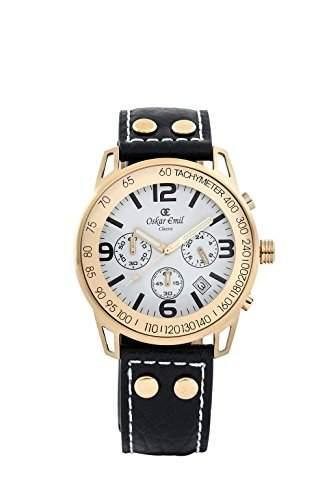 Oskar Emil, klassische Uhren, Classic menOskar Emil Herren Chronograph Uhr Gold weiss Conquest menArmbanduhr Analog Leder schwarz Conquest, Goldweiss