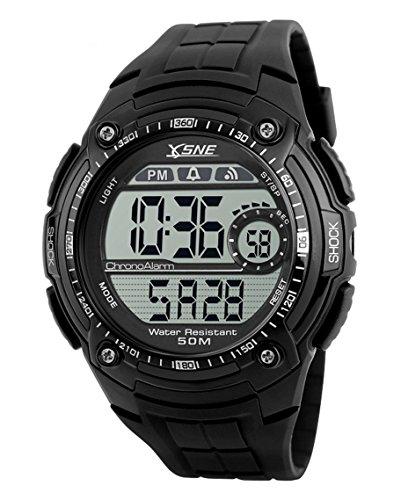 Sne Herren sk1203 a Outdoor Sport Multi Funktion Elektronische Wasserdicht Big Zifferblatt Digitale Armbanduhr Schwarz