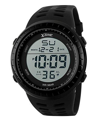 SNE Herren Digital Big Gesicht Wasserdichte elektronische LED Sport Armbanduhr Schwarz SK1167