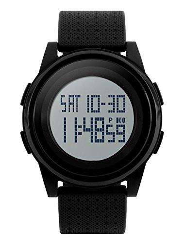 SNE Herren Digital Dual Time Ultra duennen einfachen Sport MultiFunction wasserdichte grosse Zifferblatt schwarz Armbanduhr 1206