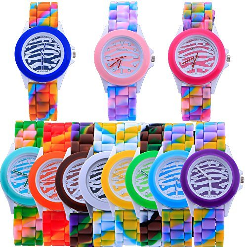 Er yunanwa 10 Geneva Zebra Armbanduhr Frauen Colorful Camouflage Silikon Quarz Handgelenk Uhren Maedchen