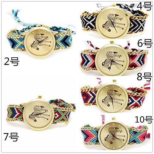 yunanwa 6er Pack handgefertigt geflochtenen stricken Seil Kette Zebra Armband Geneva Armbanduhr Damen Armbanduhren