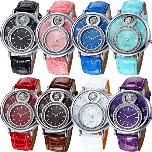 yunanwa New Arrival 8 Stueck sortiert Frauen Herren Uhren Leder Geneva Diamant Strass Armbanduhr