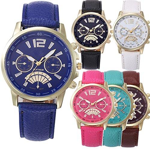 yunanwa Grosshandel von 6 Pack sortiert Platinum Armbanduhr Damen Herren Unisex Leder Band Sommer Kleid Armbanduhr
