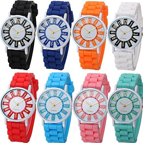 yunanwa 8 Stueck Frauen Damen Sport Silikon Geneva Armbanduhr Jelly Kleid Silikon Marke Quarz Handgelenk Uhren