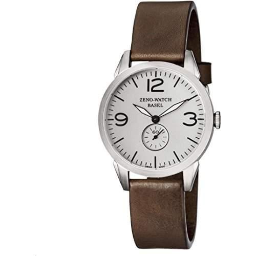 Zeno Herren 42mm Braun Leder Armband Edelstahl Gehaeuse Saphirglas Uhr 4772Q-A3-1