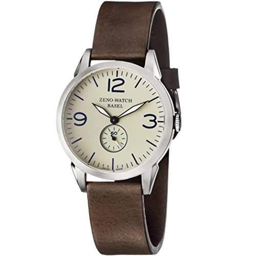 Zeno Herren 42mm Braun Leder Armband Edelstahl Gehaeuse Saphirglas Uhr 4772Q-A9-1