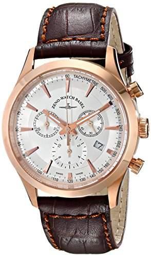 Zeno Herren 42mm Chronograph Braun Leder Armband Saphirglas Uhr 6662-5030PGR-F2