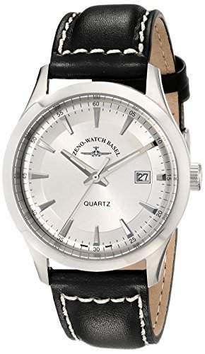 Zeno Herren 42mm Schwarz Leder Armband Edelstahl Gehäuse Datum Uhr 6662-515Q-G3