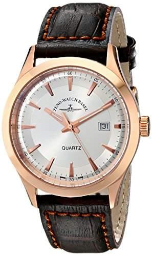 Zeno Herren 42mm Braun Leder Armband Edelstahl Gehäuse Datum Uhr 6662-515QPGR-F3