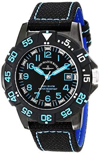 Zeno Herren 45mm Schwarz Leinen Armband Edelstahl Gehäuse Uhr 6709-515Q-A14
