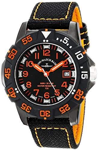 Zeno Herren 45mm Schwarz Leinen Armband Edelstahl Gehäuse Uhr 6709-515Q-A15