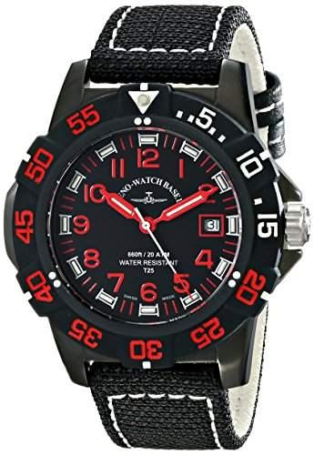 Zeno Herren 45mm Schwarz Leinen Armband Edelstahl Gehäuse Uhr 6709-515Q-A17