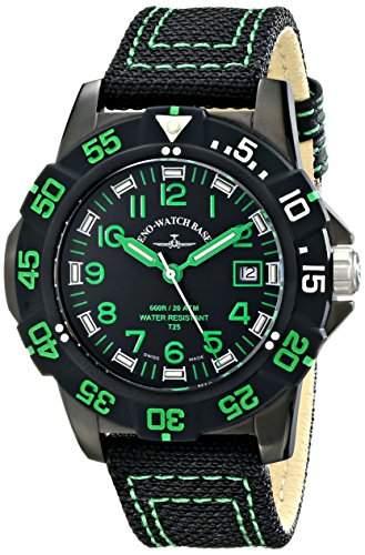 Zeno Herren 45mm Schwarz Leinen Armband Edelstahl Gehäuse Uhr 6709-515Q-A18
