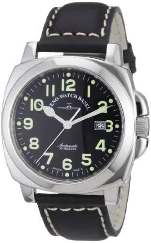 Zeno Watch Basel Herren-Armbanduhr XL Carre OS Pilot Analog Automatik Leder 3554-a1
