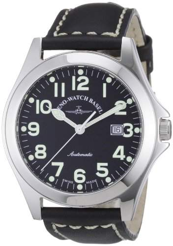 Zeno Watch Basel Herren-Armbanduhr XL Ghandi Analog Automatik Leder 8112-a1