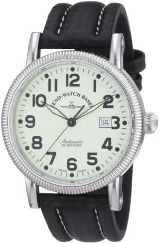 Zeno Watch Basel Herren-Armbanduhr XL Nostalgia 1868 Analog Automatik Leder 98079-s9