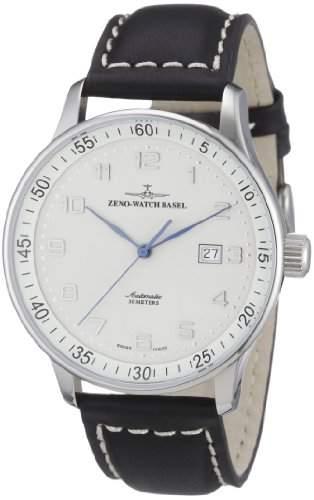 Zeno Watch Basel Herren-Armbanduhr XL X-Large Pilot Analog Automatik Leder P554-e2