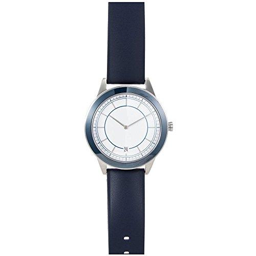 Uniform Waren 351 Serie Herren Edelstahl blau Lederband Band weiss Zifferblatt Silber Armbanduhr