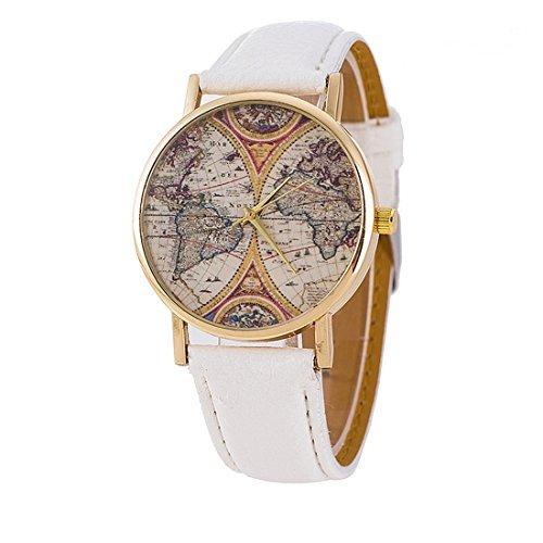 Ryanwayland 4 Farbe Geneva Platinum New World Earth Map Leder Quarz Uhren Weiss Gold