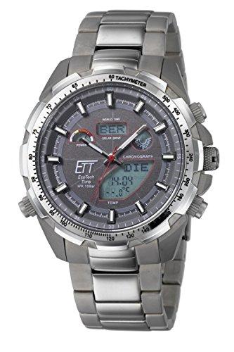 Eco Tech Time Solar Drive Funk Explorer Titan EGT 11271 21M World Timer Temperaturanzeige Titan Armbanduhr