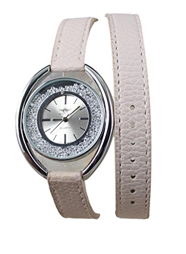 Damen Armband Armbanduhr Double Tour Leder beige Michael John Paris