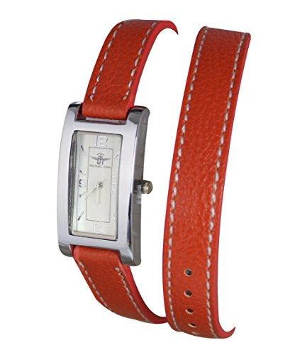 Damen Armband Armbanduhr Double Tour Leder weiss Michael John