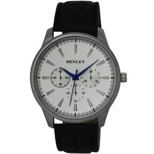 Henley bl Chronostil Herrenuhr, silb Zifferblatt,schw PU-Armband H010131