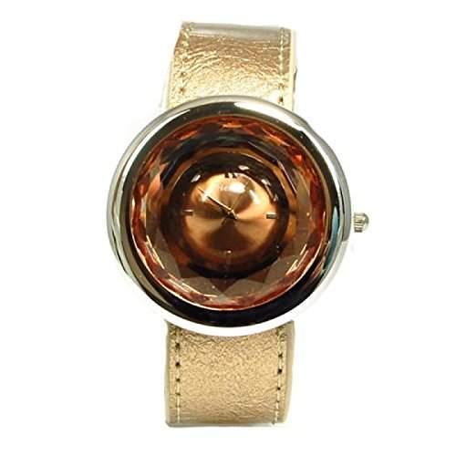 Henley Glamour - H060212 - bronzefarbene Damenuhr mit poliertem Chromgehaeuse und facettenreichem Mineralglas