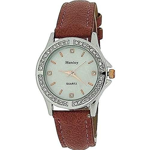 HENLEY Damen Armbanduhr mit Kristall besetzter Luenette, Perlmutt-Ziffernlbatt und terracottafarbenem Armband H060624