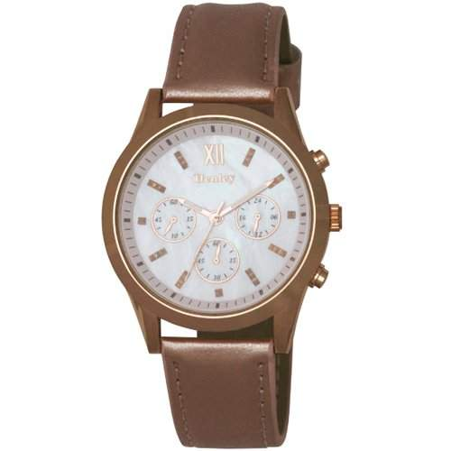 HENLEY Damenarmbanduhr mit Perlmutt Ziffernblatt, Chrono-Effekt & pinkfarbenem PU-Armband H060664