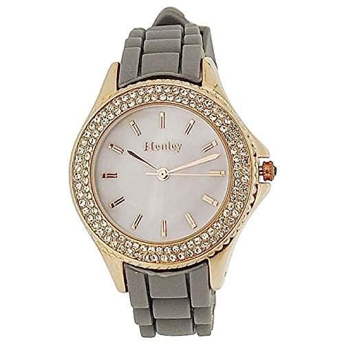 HENLEY Damenarmbanduhr mit Perlmutt-Ziffernblatt, roséfarbener Luenette und grauem Gummi-Armband H06068