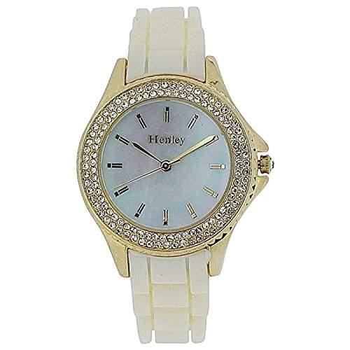 HENLEY Damenarmbanduhr mit Perlmutt-Ziffernblatt, roséfarbener Luenette und weissem Gummi-Armband H06068