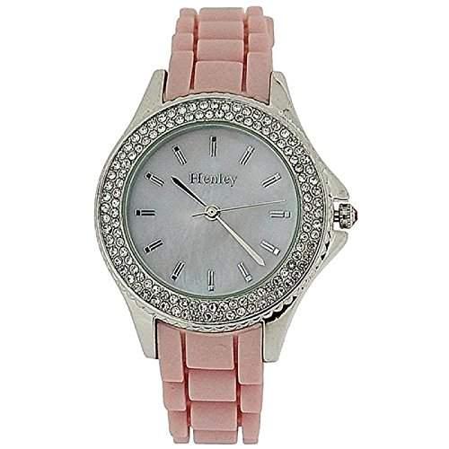 HENLEY Damenarmbanduhr mit Perlmutt-Ziffernblatt, roséfarbener Luenette und pinkfarbenem Gummi-Armband H06068