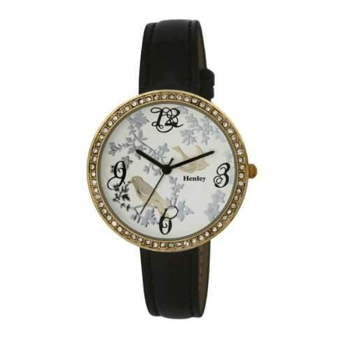 Henley Damenuhr, 2 Goldtoene, Gefiederte Freunde , schw Armband, H060722