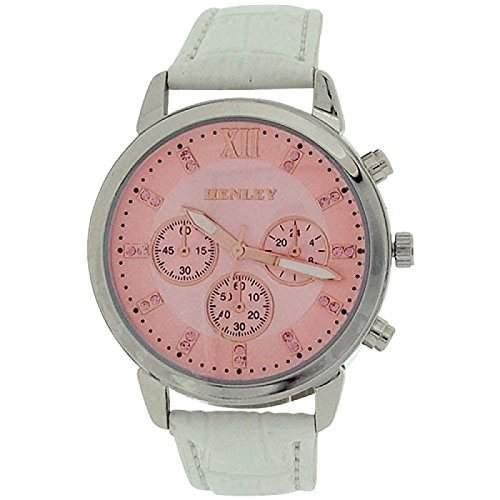 Henley Glamour Damen Chronoeffekt Uhr, rosa Zifferbl weisses PU Band H060975
