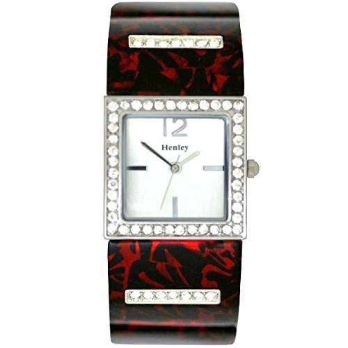 Henley Glamour - H070603 - Damenuhr mit rot-schwarzem Muscheldruck in sehr schicken Praesentbox
