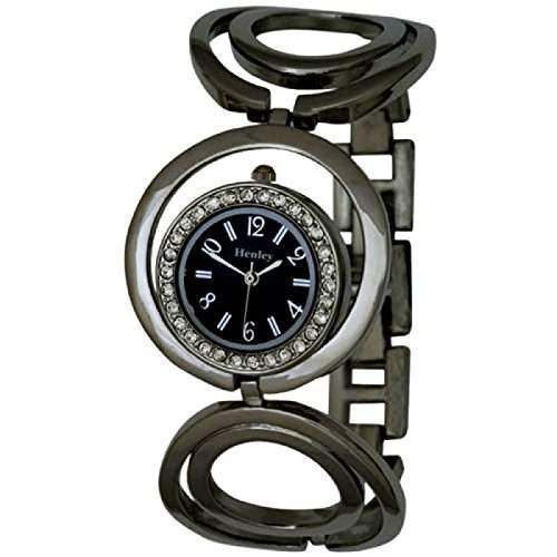 HENLEY -H070944- Durch Kristalle verzierte Damenuhr mit silberfarbigem Armband