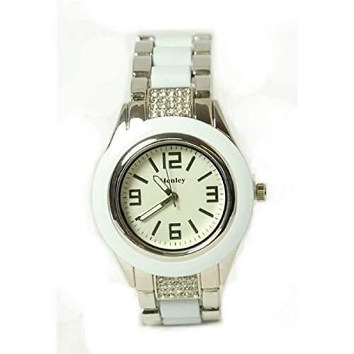 Henley glitzernde Bling weisse Damen Armbanduhr