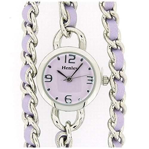 Henley Glamour Damenuhr mit lila Mehrfacharmband und lila Zifferblatt H071787