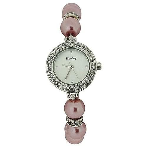 HENLEY Glamour Adrette Damen Armbanduhr mit synthetischen rosafarbenen Perlen H071875