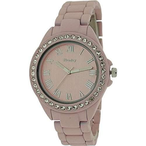 Henley Glamour Damenuhr, Diamante Luenette, gummiertes rosa Band H0720215